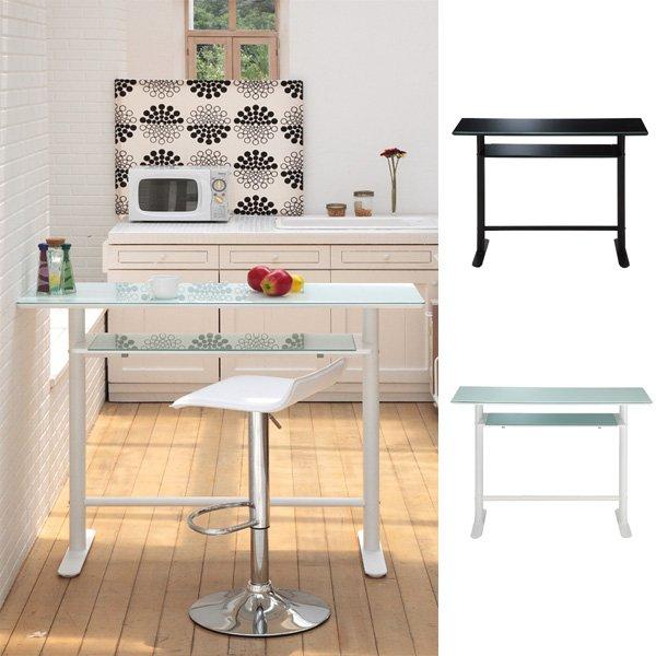カウンターテーブル 120 キッチン バーカウンターテーブル 作業台 収納 ガラス ハイテーブル カウンター 棚付き ホワイト ハイカウンター 高さ90 バーカウンター テーブル ガラステーブル ブラック 白 黒 バーテーブル カフェテーブル Royce