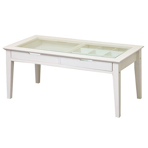 コレクションテーブル ウッド 木 ガラス ガラステーブル 一人暮らし センターテーブル アンティーク テーブル ホワイト ローテーブル 幅90 小物 収納付き 収納 ディスプレイ おしゃれ かわいい 白 白家具 ナチュラル シンプル 天然木 ガーリー カフェ風 リビング 家具 新生活