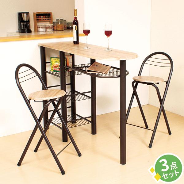 【3点セット】ダイニングテーブル カウンターテーブル ハイテーブル 背もたれ 折りたたみチェア 2脚 キッチン 椅子 コンパクト 折りたたみ 折りたたみ椅子 バーカウンター テーブル チェア バーテーブル 北欧 デザイン かわいい