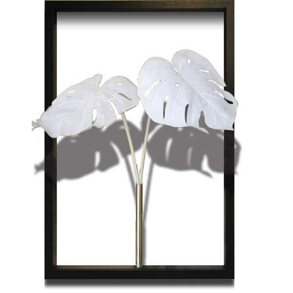 リーフパネル ウォールパネル モンステラ アート グリーン 壁掛け 人工観葉植物 額 アートフレーム アートパネル 植物 デザイン インテリア モダン ナチュラル シンプル プレゼント ギフト ホワイト Monstera Deliciosa White