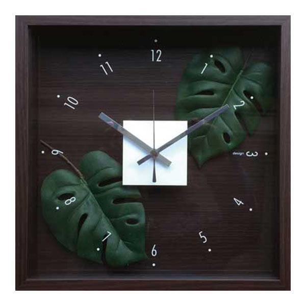 掛け時計 アートフレーム 時計 クロック 壁掛け 造花 四角 ウォール ウォールクロック イミテーショングリーン 壁掛け時計 インテリア フラワー 緑 リビング 北欧 寝室 花 CDC-51810 Design Clock Leaf Monstera