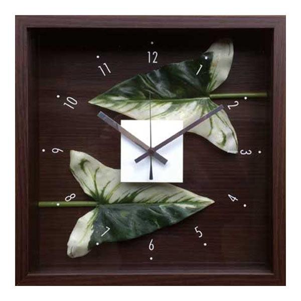 掛け時計 アートフレーム 時計 クロック 壁掛け 造花 四角 ウォール イミテーショングリーン 壁掛け時計 インテリア ウォールクロック フラワー 緑 リビング 北欧 寝室 花 CDC-51813 Design Clock Leaf Anthurium leaf