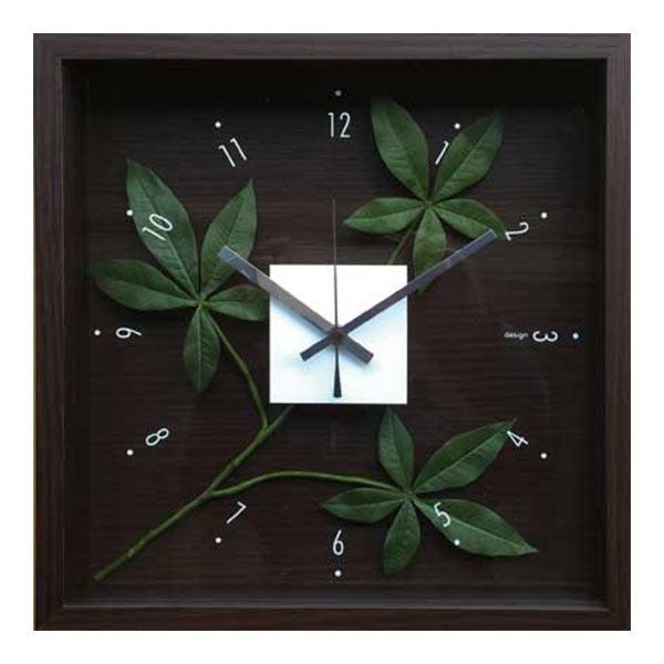 掛け時計 アートフレーム 時計 クロック 壁掛け 造花 四角 ウォール イミテーショングリーン 壁掛け時計 インテリア ウォールクロック フラワー 緑 リビング 北欧 寝室 花 CDC-51814 Design Clock Leaf pachira glabra