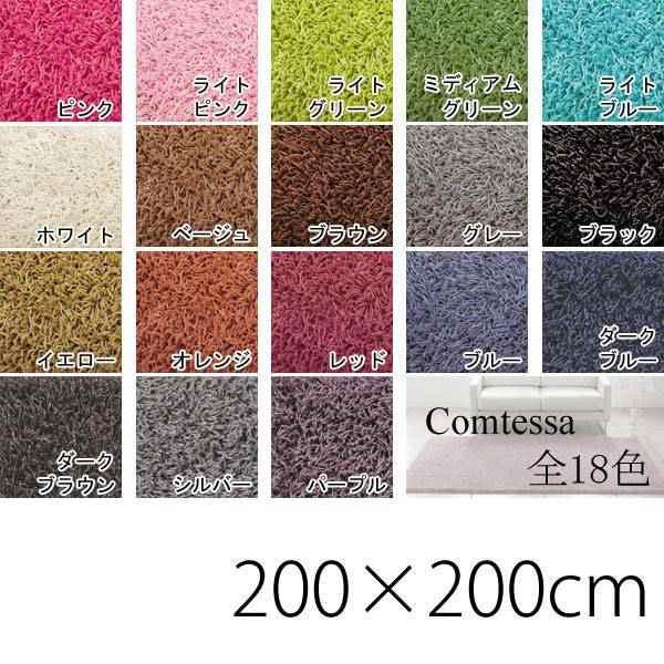 ラグ デザイン モダン 北欧 カーペット オシャレインテリア デザインラグ フロアマット リビングマット インテリアマット アクセントラグ アクセントマット ラグマット カラー Comtessa コンテッサ 200×200cm 正方形 絨毯 敷物 シンプル 一人暮らし