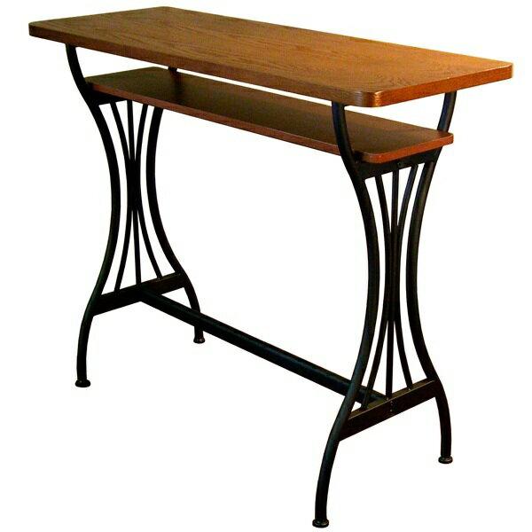 カウンターテーブル 木 木製 棚 ハイカウンターテーブル ハイカウンター 収納 ハイテーブル アンティーク カウンター テーブル おしゃれ 幅110センチ バーテーブル 一人暮らし 作業台 レトロ リビング Brno