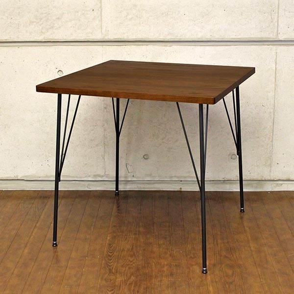 ダイニングテーブル アイアン 脚 木製 テーブル 2人用 75 小さい おしゃれ 木 正方形 アンティーク コンパクト 75cm幅 北欧 二人用 75cm