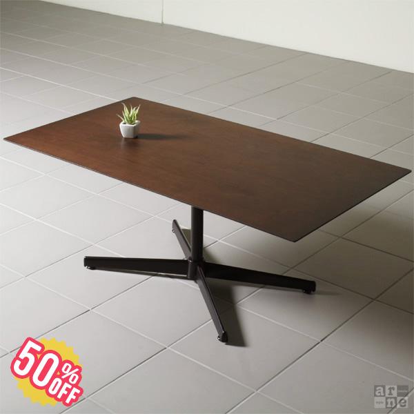 【在庫処分50%OFFSALE】一本脚 ダイニングテーブル 4人掛け 低め テーブル ウォールナット ロータイプ ソファー 高級感 ソファ 木 ダイニング リビング カフェ風 カフェ 単品 食卓 4人 木製 日本製 食卓テーブル おしゃれ 机 シンプル 100 天然木 長方形