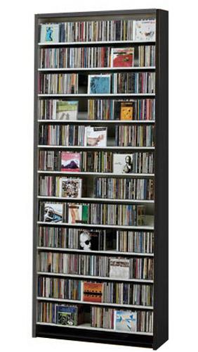 CDラック スリム 大容量 おしゃれ cd ラック DVD 収納 ディスプレー 棚 通販 cd収納ラック cd収納棚 cdボックス 薄型 DVDラック CDストッカー DVDストッカー スリムラック 壁面収納 収納力 木製  CD最大924枚収納可能 DVD 最大400枚収納可能 ダークブラウン