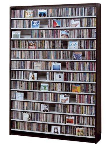 CDラック スリム 大容量 おしゃれ CD DVD 収納 ラック dvd収納ラック ディスプレー 棚 通販 cd収納ラック cd収納棚 cdボックス 薄型 DVDラック CDストッカー DVDストッカー ディスプレイラック ナチュラル 木製 CD最大1668枚収納可能 DVD最大720枚収納可能 ダークブラウ