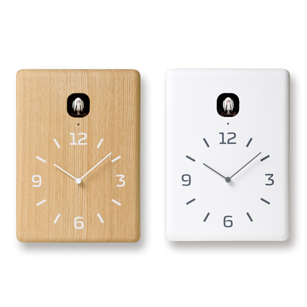 鳩時計 掛け時計 四角 ウォールクロック アナログ 時計 壁掛け 壁掛け時計 置き時計 時計 壁掛け 置き おしゃれ 置時計 卓上時計 デザインクロック デザイン時計 リビング モダン 北欧 デザイナーズ 奈良雄一 cucu クク LC10-16 ナチュラル ホワイト Lemnos レムノス