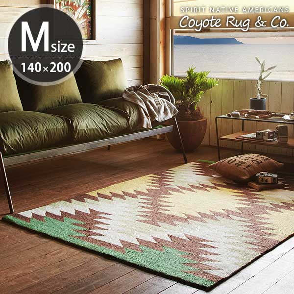 ラグマット カーペット ラグ 柄 マット 北欧 おしゃれ 幾何学 エスニック 長方形 100×140cm ホットカーペット対応 ホットカーペットカバー 床暖房対応 リビングマット 絨毯 ネイティブラグ 敷物 アートワークスタジオ Ganado ガナード Mサイズ TR-4282