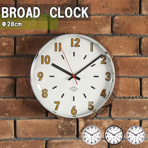 掛け時計 壁掛け時計 ウォールクロック 時計 ヴィンテージ レトロ リビング サロン 直径28cm BROAD CLOCK_Φ28cm WH BK CHROME ホワイト ブラック クローム