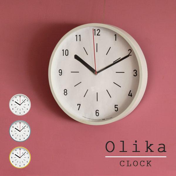 掛け時計 壁掛け時計 ウォールクロック 時計 ナチュラル 北欧 ウッドフレーム デザイン オシャレ Olika CLOCK_Ф31 cm WH BL YE ホワイト ブルー イエロー