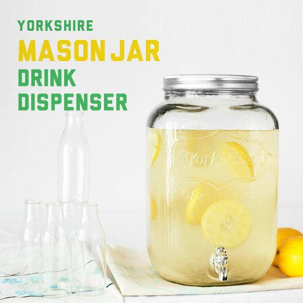 ドリンクサーバー ガラス 8L ドリンクディスペンサー 蛇口付き 蛇口 ドリンク サーバー ディスペンサー おしゃれ レトロ 北欧 ビン 瓶 水 レモネード 梅酒 サングリア メイソンジャー YORKSHIRE MASON JAR DRINK DISPENSER