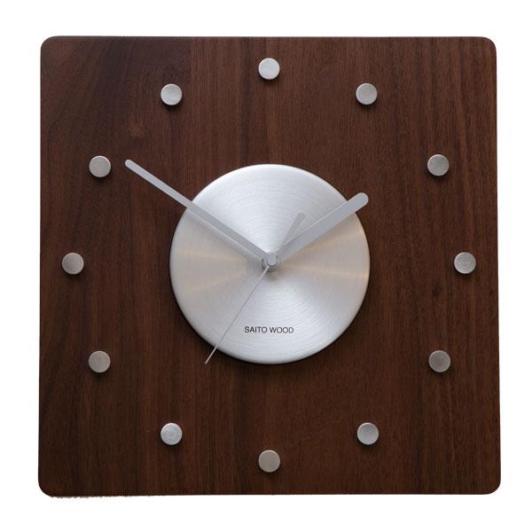 壁掛け時計 北欧 木製 サイトーウッド CL-01WN おしゃれ 掛時計 かけ時計 時計 壁掛け 日本製 saitowood カフェ シンプル ナチュラル かわいい ウォールクロック 掛け時計 四角 インテリア お祝い ギフト