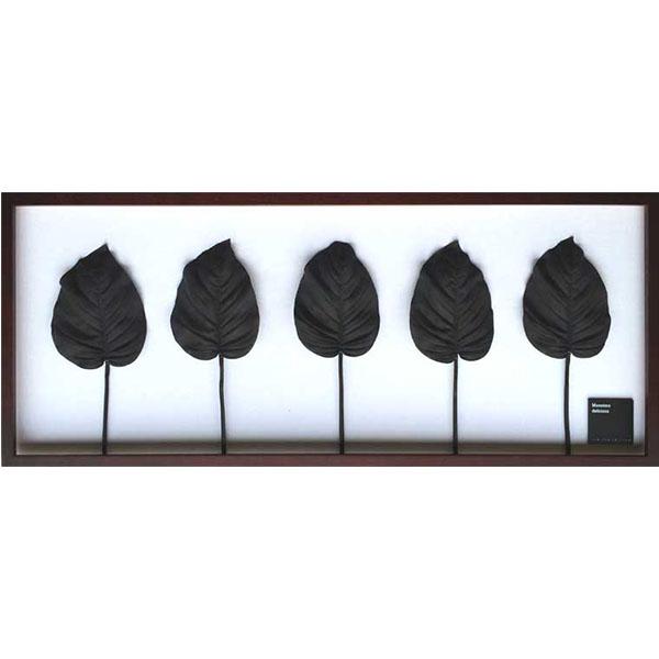 リーフパネル リーフ アートパネル 壁 アート 人工観葉植物 壁掛け グリーン アートフレーム アンティーク リーフアート パネル フレーム モダン アジア 北欧 壁飾り ウォールパネル 観葉植物 癒し 植物 デザイン インテリア モダン IFF51072 Hosta.cv BK