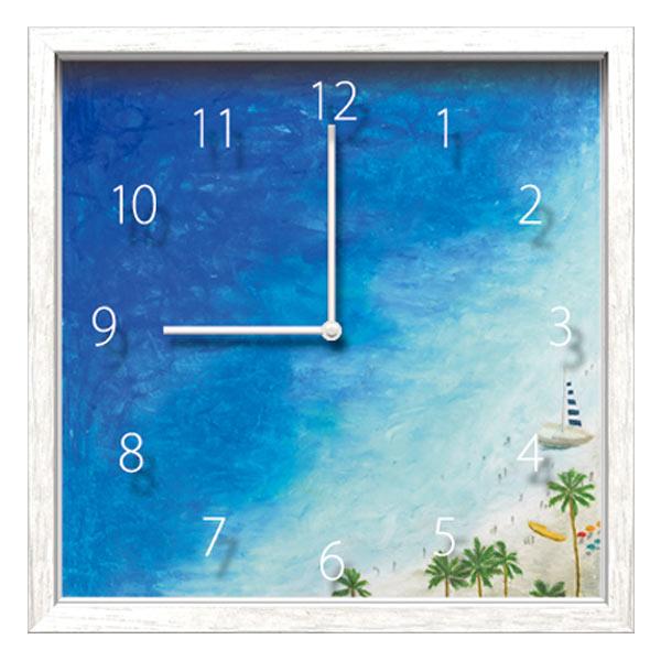 掛け時計 かわいい 壁掛け時計 四角 おしゃれ 北欧 時計 壁掛け インテリア ウォールクロック アートフレーム アート クロック ウォールアート ディスプレイ 可愛い アートボックス アートクロック 絵 Artist Clock シマザキ ミユキ 海 ギフト プレゼント 新築祝い 贈り物
