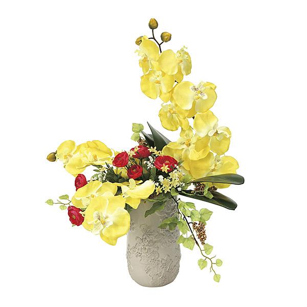 造花 光触媒 観葉植物 インテリア 人気 おしゃれ 花束 アートフラワー ギフト 花 リビング 胡蝶蘭 イエロー