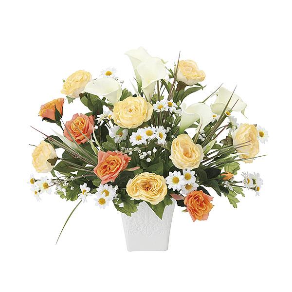 観葉植物 造花 光触媒 アートフラワー フェイク フラワー 人工植物 おしゃれ 玄関 リビング オレンジ バラ