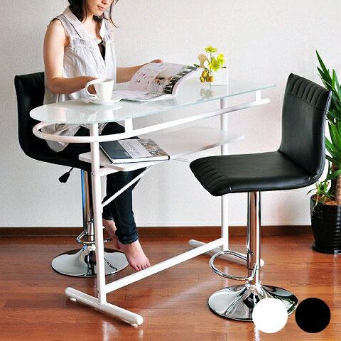 バーカウンター テーブル カウンターテーブル カウンターデスク バーテーブル 北欧 ホワイト デスク ハイテーブル カフェ ハイタイプ 約高さ90cm バーカウンターテーブル ガラスカウンターボード ブラック モダン 収納 白 黒 PHW-1145スチール シンプル 机 おしゃれ