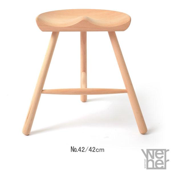 デザイナーズチェア 椅子 背もたれなし スツール シューメーカーチェア 腰掛け 木製 リビング ダイニング デザインチェア 北欧 おしゃれ インテリア モダン カントリー  Shoemaker Chair No.42 高さ42cm 1脚 ナチュラル Werner ワーナー社 デンマーク製 無塗装仕上げ