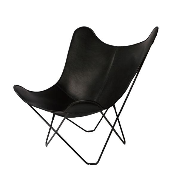 カフェチェアー レザーチェアー ハイバックチェア デザイナーズチェア 1人掛け 1P リビングチェア レザー 椅子 イス チェア デザイナーズ チェア ハイバック  ミッドセンチュリー 北欧 モダン 一人掛け椅子 バタフライチェア Butterfly Chair BKF Chair ブラック 黒