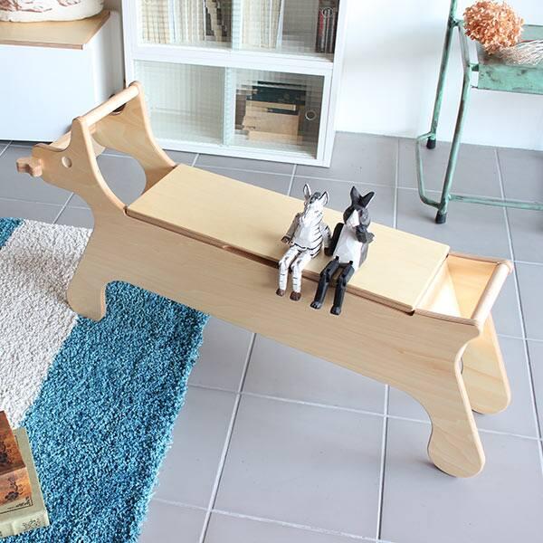 ベンチ 椅子 スツール 木製 ベンチチェア 収納 収納付 チェア ベンチチェアー 木製ベンチ 腰掛 玄関 腰掛け 長いす 長椅子 子供 いす 子供用 子供部屋 キッズ イス 子犬 イヌ 犬 動物 アニマル 収納付き おもちゃ箱 座れる ボックス おしゃれ リビング 北欧 PUPPY BENCH