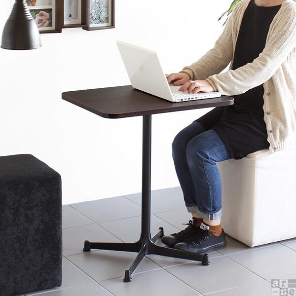 カフェテーブル 1本脚 60 2人用 ダイニングテーブル 2人 テーブル オシャレ ダイニング コンパクト コーヒーテーブル アンティーク 北欧 ミニテーブル 木製 ミニ 小さい デスク 奥行45cm 机 サイドテーブル パソコンデスク 省スペース ミニデスク 角丸 cafe-SP604520RTD