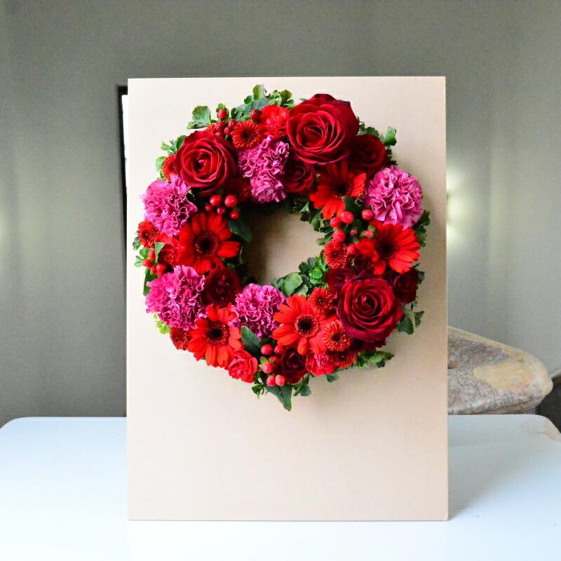 【送料無料】【ボード付き】生花のボードに飾れるリース アレンジメント/お祝い花