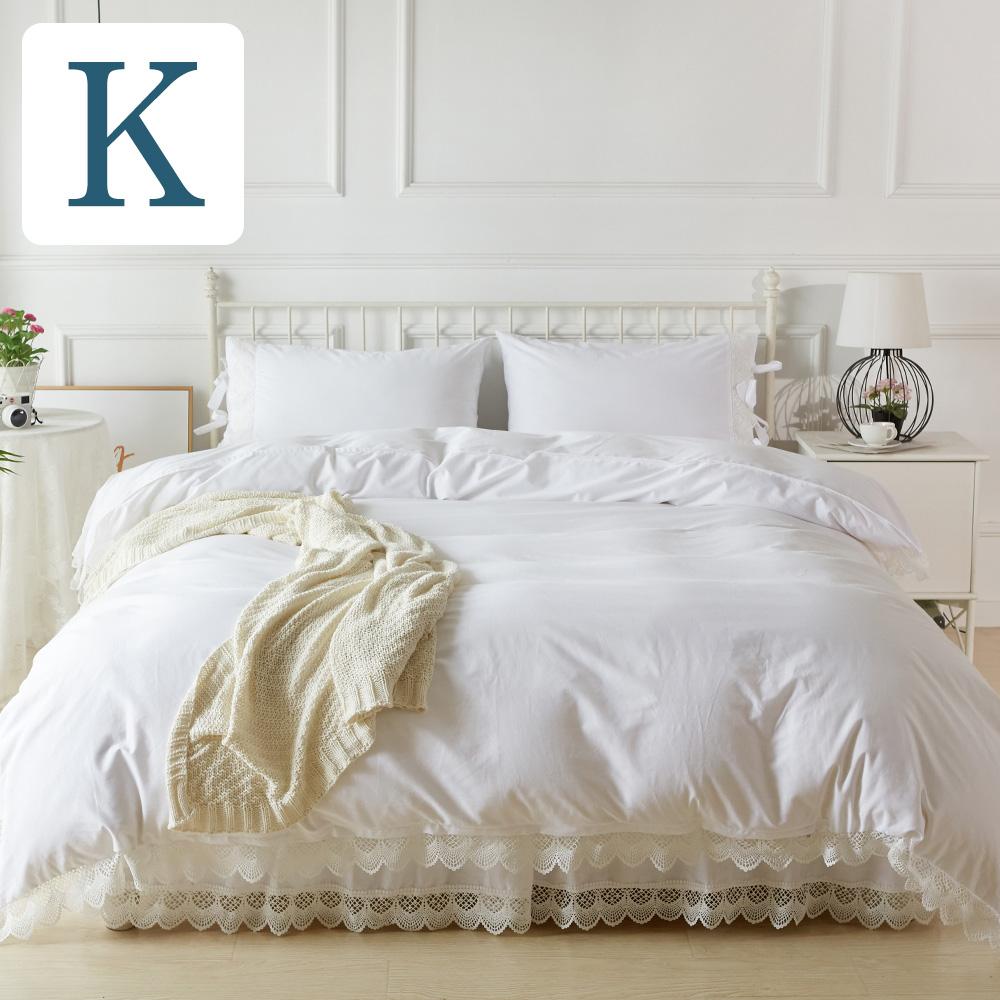 ベットカバー キング アンティークレース4点セット【キングサイズ】カバーセット マルチカバー 2ピローケース ベッドスカート4点セット ベッド ベッドカバー |ベッドスプレッド ホワイト 白 ベットスカート
