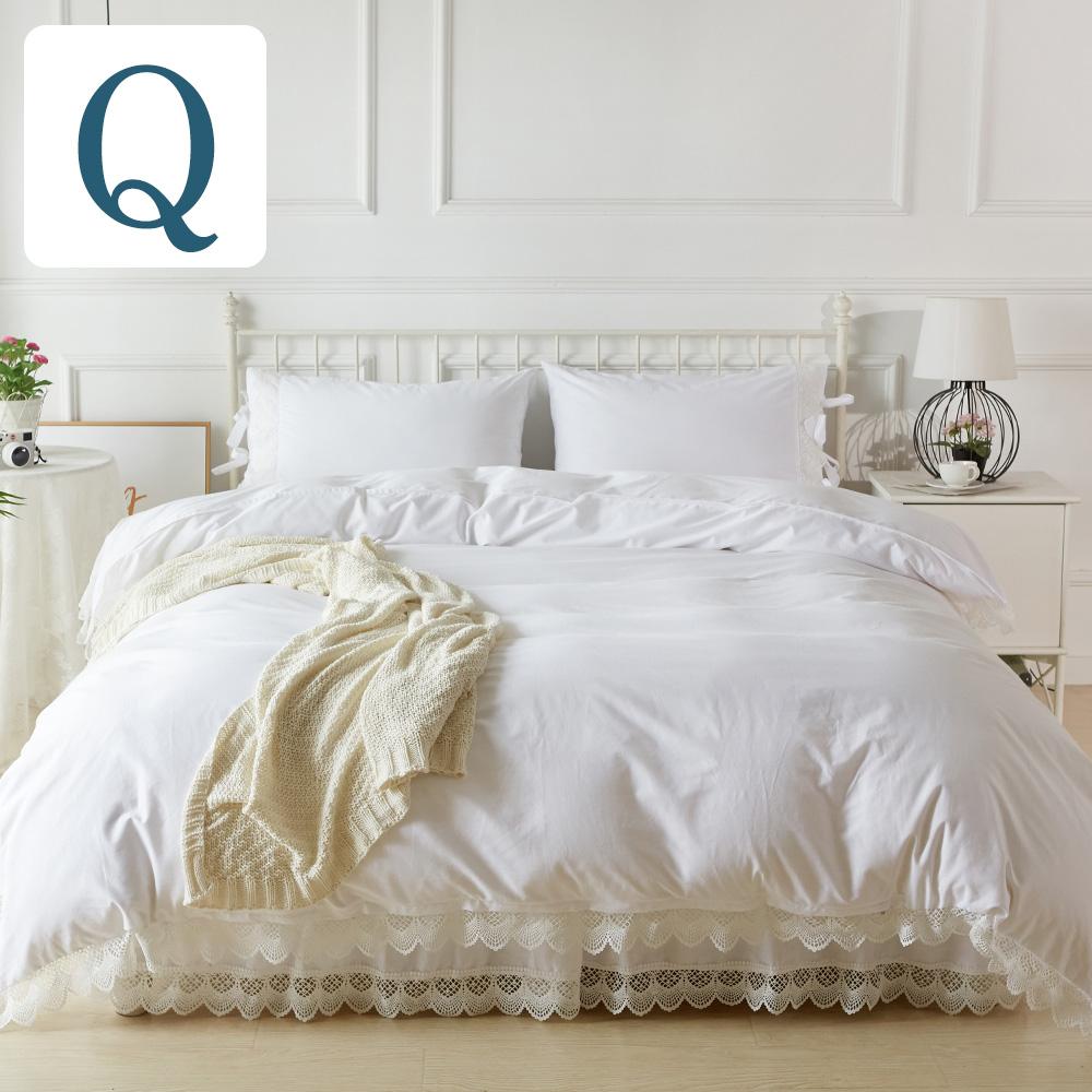 ベッドカバー クイーン アンティークレースベッドカバー4点セット【クイーンサイズ】ベッド ベットカバー 2ピローケース ベッドスカート ベットスカート |ベッドスプレッド ホワイト 白 かわいい スカート ホテル仕様