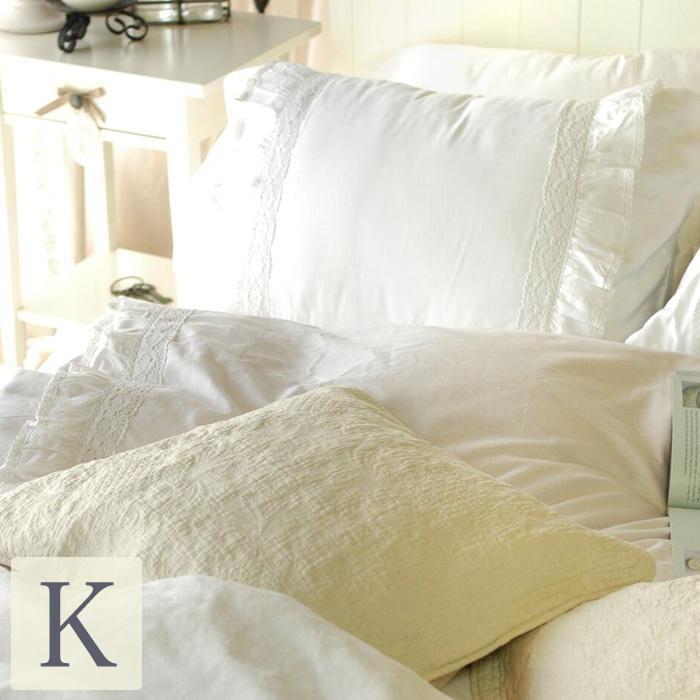 ベッドカバー シャビーホワイトフリル 4点セット【キング】カバー(ベッドスプレッド)ベットカバー 2ピローケース ベッドスカート |ベットスカート 北欧 キングサイズ ベッド シャビーシック