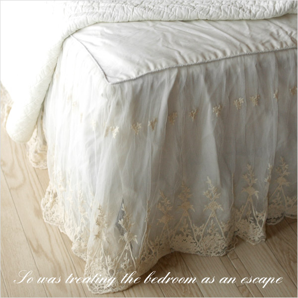 ビンテージレースベッドスカート日本サイズ仕様/ワイドダブル ワイドダブルベッド用|フリル ベッドスプレッド シーツ ベッドシーツ ホワイト 白 かわいい おしゃれ 寝具 ホテル