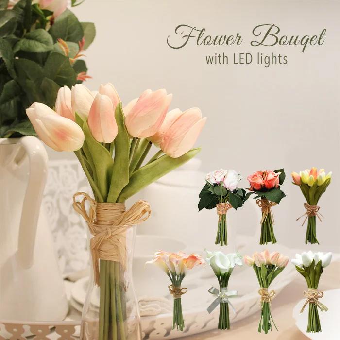 母の日 バレンタイン 柔らかな雰囲気でお部屋をパッと明るくしてくれるフラワーライト ローズは幸せの象徴的な色合い プレゼントに最適な箱付き VIA K studio フラワーLEDブーケ 造花 ブーケフラワーブーケ ブライダル ピンク おしゃれ お花 プレゼント 誕生日 当店一番人気 ギフト 結婚式ブーケ 35%OFF 花嫁ブーケ フラワーブーケ 結婚祝い LED フラワーライト 光る花 光るブーケ