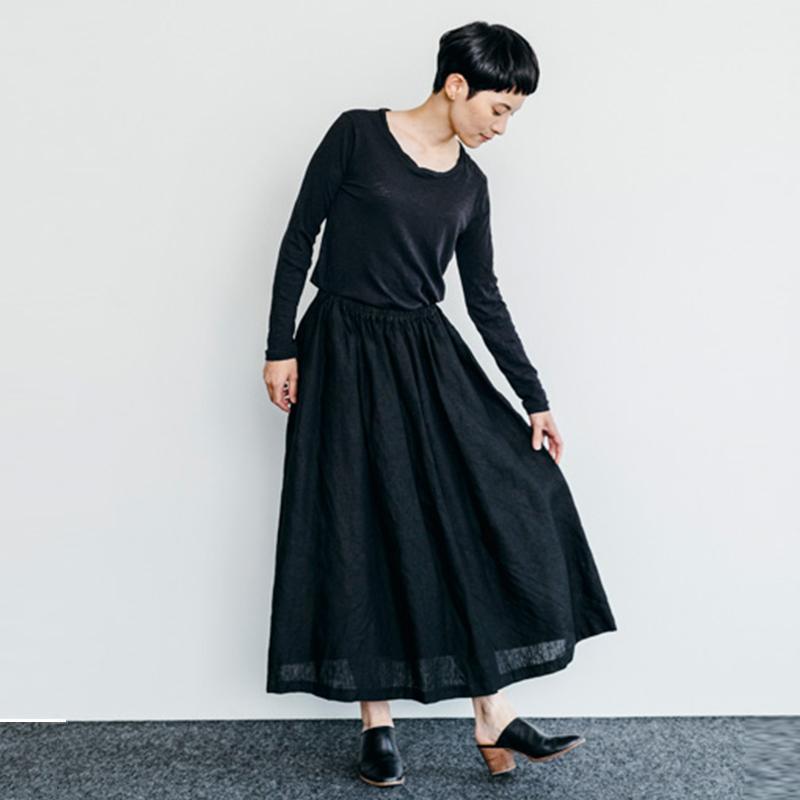フォグリネンワーク fog linen workファビーナスカート ブラック 2019SAT 即納・送料無料