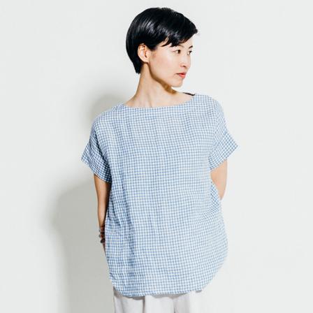 ハンナ Tシャツ ブルーホワイトチェックfog linen work フォグリネンワーク【送料無料】