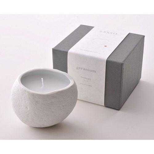 自然の石を使ったやわらかな見た目と香りのキャンドルです。 SASSO サッソ SASSO 小 ゼラニウムの香り◆天然石/ルームフレグランス/アロマキャンドル/天然石