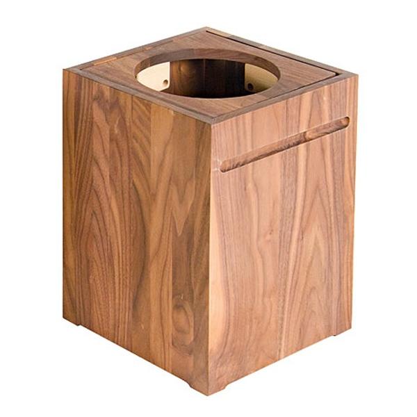 ゴミ箱 ふた付き おしゃれ リビング 木製 茶系ウォルナット ウォールナット 木目 天然木無垢 ごみ箱 くずかご くず入れ 袋が見えない角型 26cm×26cm シンプル【PLAM】ナチュラルウッド ダストボックス ウォルナット