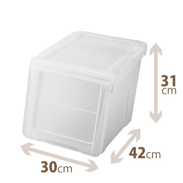 買い物 カバのような大きな口 楽々出し入れ収納ボックス 天馬 プロフィックス カバコスリムM クリア 通販 激安 プロフィックスシリーズ