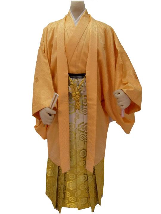 【レンタル】No.32-No.325 Lilianne オレンジカラーアンサンブル 卒業式 成人式 男性用 紋服セット レンタル【店頭受取対応商品】