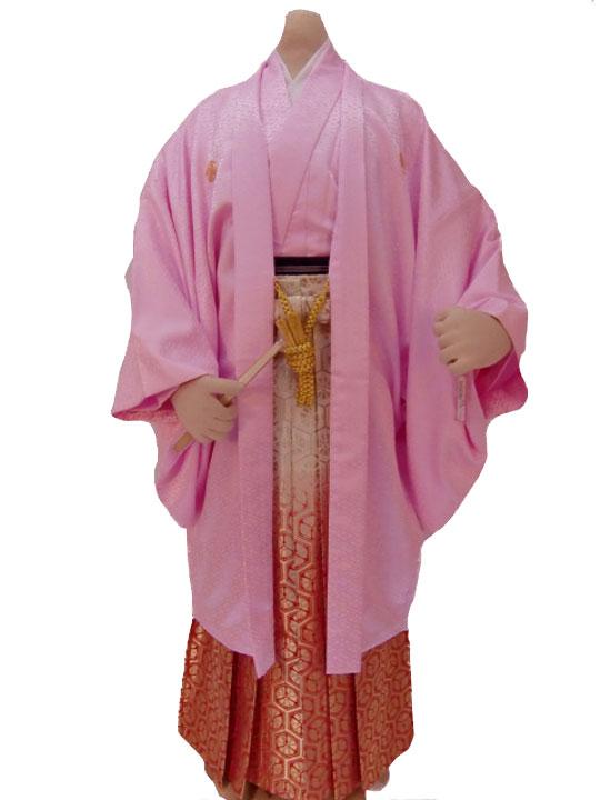 【レンタル】No.29-No.339 Lilianne ピンク 卒業式 成人式 男性用 紋服セット レンタル【店頭受取対応商品】