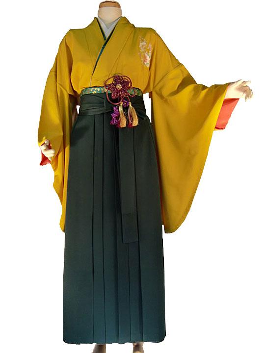 【レンタル】ワンポイン2尺袖-からし[き-11] 着物単品 AROVEINA(アロヴィーナ) 卒業式 成人式 女性用 レンタル【店頭受取対応商品】