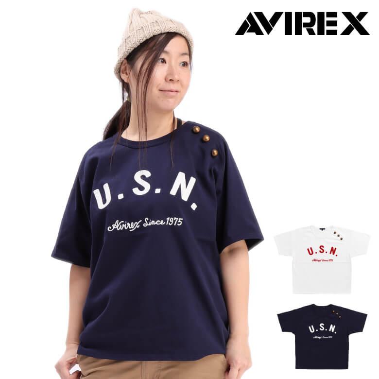 【MAX20%OFFオフクーポン対象】AVIREX(アビレックス) 5分袖 Tシャツ カットソー U.S. NAVY ボタン 半袖 ロゴプリント レディース (6293120)【ラッキーシール対応】プレゼント ギフト