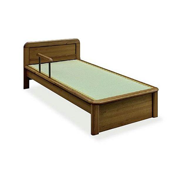 法人様限定販売 木製ベッド IJBW-109 シンプル タタミ付き 手すり1本付 送料別途商品