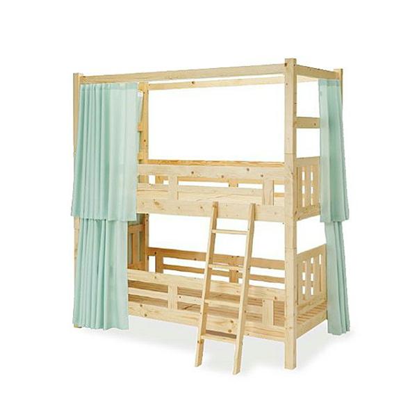法人様限定販売 木製2段ベッド カーテン付き IJBW-201C パイン集成材 ウレタン塗装 シンプル 明るい木目 送料別途商品