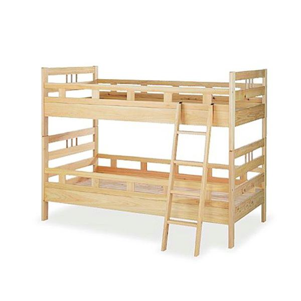 法人様限定販売 木製2段ベッド IJBW-202 ヒノキ無垢材 ウレタン塗装 シンプル 明るい木目 送料別途商品