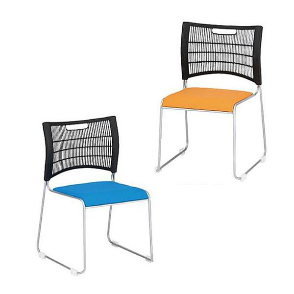スタッキングチェア 同色4脚セット販売 TFNSC−30L 背もたれブラック ビニールレザー張り座面 会議椅子 オフィスチェア 食堂用チェア