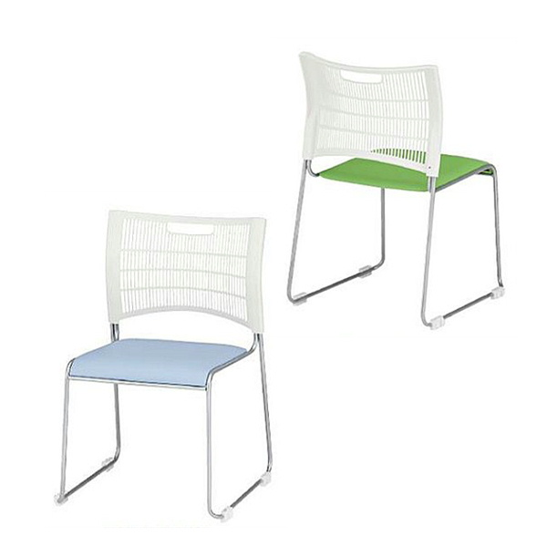 スタッキングチェア 同色4脚セット販売 TFNSC−35L 背もたれホワイト ビニールレザー張り座面 会議椅子 オフィスチェア 食堂用チェア