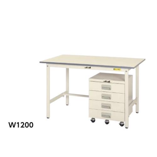 ワークテーブル・キャビネットワゴンセット 幅120x奥行75cm テーブルと引出し4段ワゴン