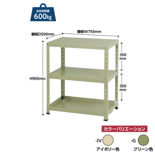 ツールワゴン 幅75x奥行50cm 固定式 重量タイプ シンプル 工具置き棚 部材置き棚 下段棚板皿型 送料無料